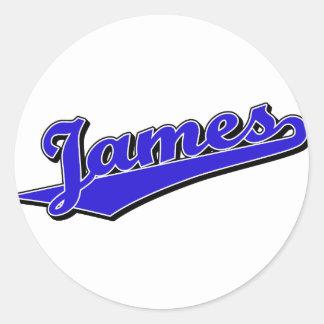 James i blått klistermärken