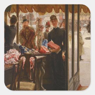 James Tissot målning Fyrkantiga Klistermärken