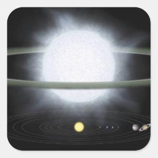 Jämförelse av formatet av en hypergiant stjärna fyrkantigt klistermärke