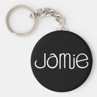 Jamie vit Keychain Rund Nyckelring