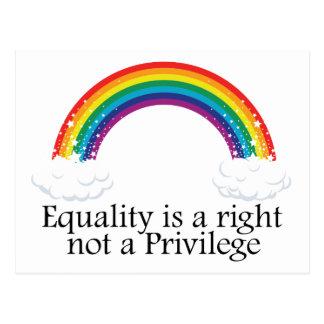 Jämställdhet är en höger inte en privilegiera vykort