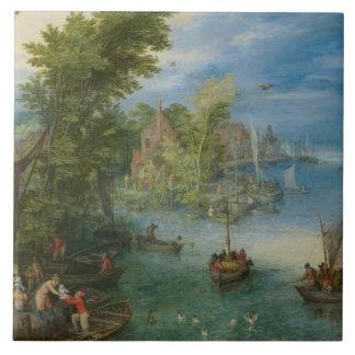 Jan Brueghel fläderen - floden landskap Kakelplatta