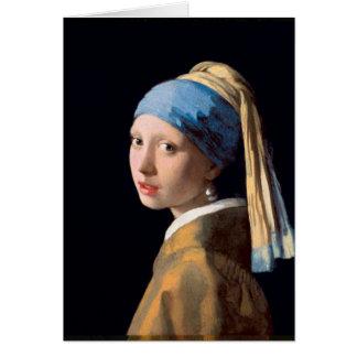 Jan Vermeer - flicka med ett pärlemorfärg örhänge Hälsningskort