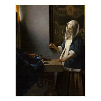 Jan Vermeer, kvinnainnehav en balanseravykort Vykort