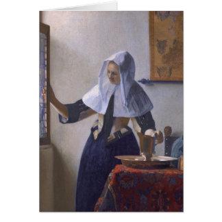Jan Vermeer - ung kvinna med en vattentillbringare Hälsningskort