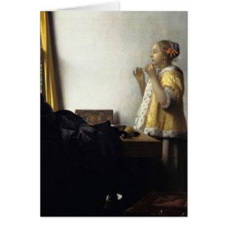 Jan Vermeer - ung kvinna med ett pärlemorfärg Hälsningskort