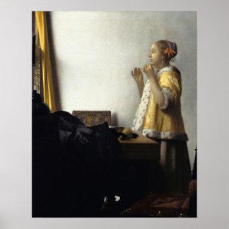 Jan Vermeer, ung kvinna med ett pärlemorfärg Poster