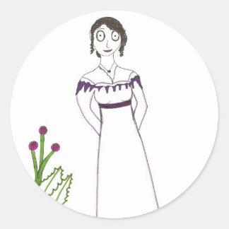 Jane Austen kuslig växt Runt Klistermärke