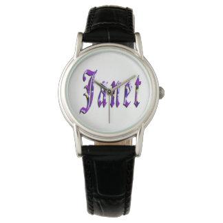 Janet namn, logotyp, Watch. för damsvartläder Armbandsur