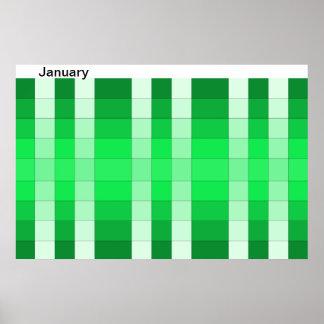 Januari för månad för färgregnbågeaffisch kalender poster