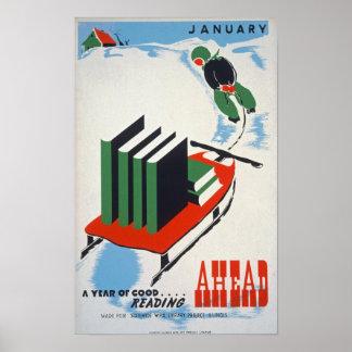 Januari vintage affisch poster