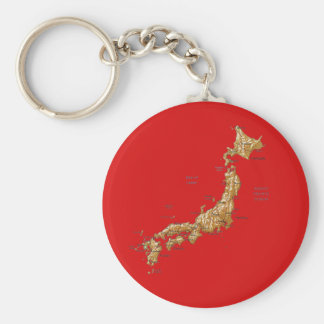 Japan karta Keychain Rund Nyckelring