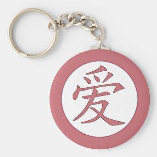 Japan - kinesisk kärlek爱 rund nyckelring