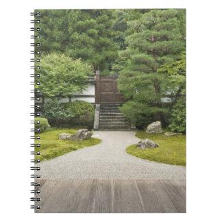 Japan Kyoto, Sennyuji tempelträdgård Anteckningsbok Med Spiral