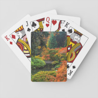 Japanen arbeta i trädgården i höst i Portland, Casinokort