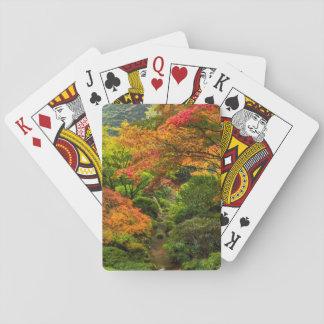 Japanen arbeta i trädgården i höst i Portland, Spel Kort