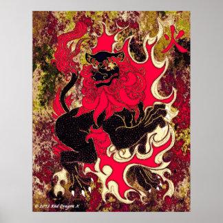 Japanen avfyrar draken (svarten) poster