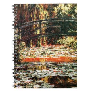 Japanen överbryggar vid Claude Monet Anteckningsbok