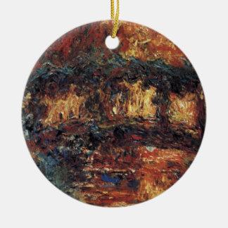 Japanen överbryggar vid Claude Monet, vintagekonst Julgransprydnad Keramik