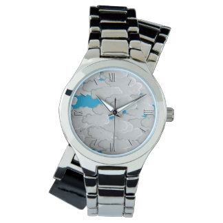 Japanmoln, sommardag, vit och himmelblått armbandsur