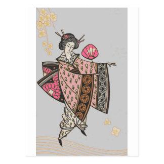 Japansk dam i rosa Kimono Vykort