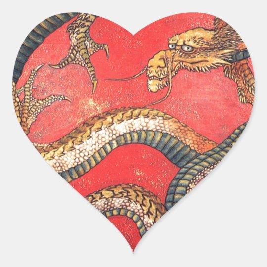 Japansk drake hjärtformat klistermärke