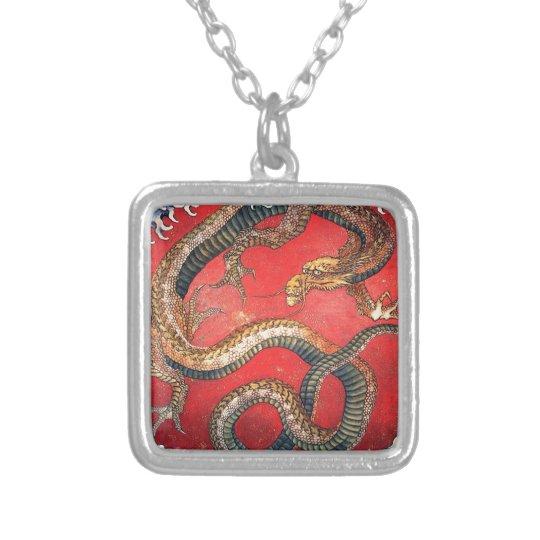 Japansk drake silverpläterat halsband
