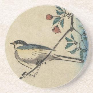 Japansk fågel- och blommarkonst för vintage underlägg