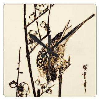 Japansk fågel på en gren - brunt och beige fyrkantig klocka