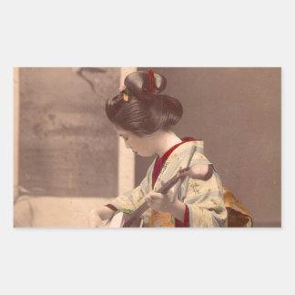 Japansk geisha för vintage som leker shamisenen rektangulärt klistermärke