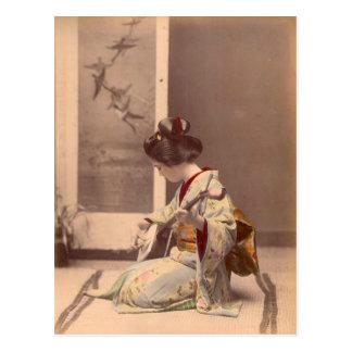 Japansk geisha för vintage som leker shamisenen vykort