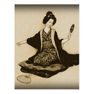 Japansk geisha för vintageSepia som tittar med Vykort