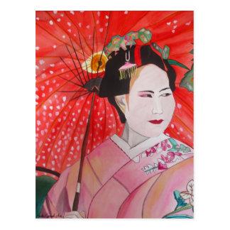 Japansk Geisha med röd paraplyoriginalkonst Vykort