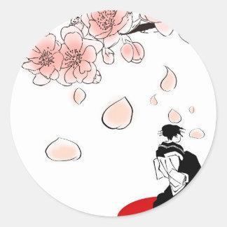 japansk geisha runt klistermärke