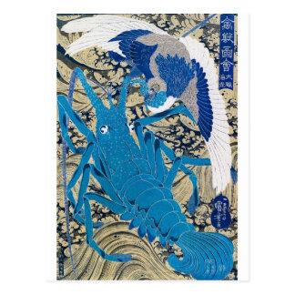 Japansk hummer och fågel som målar C 1800 s Vykort