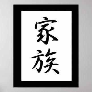 Japansk Kanji för familjen - Kazoku Poster