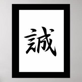 Japansk Kanji för sanning - Makato Poster