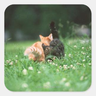 Japansk katt 4 fyrkantigt klistermärke