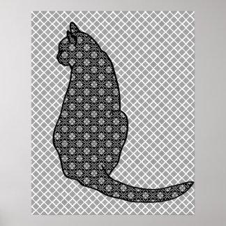 Japansk katt - svartvitt Kimonotryck Poster