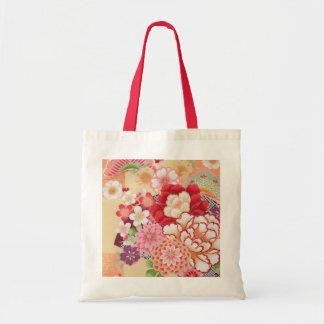 Japansk KIMONOtextil, blomma Budget Tygkasse