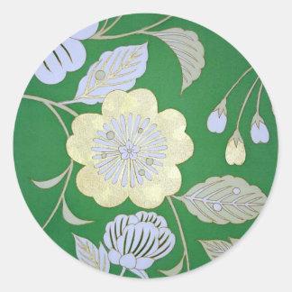 Japansk KIMONOtextil, blommönster Runt Klistermärke