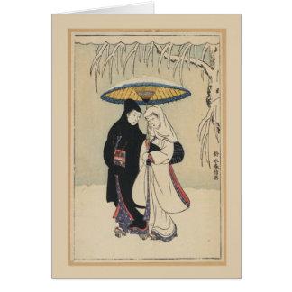 Japansk konst för härlig vintage, Geishakort Hälsningskort