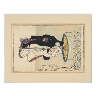 Japansk konst för härlig vintage, Geishamålning Fototryck