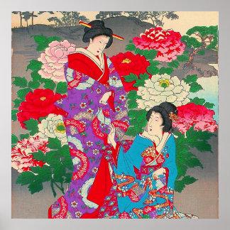 Japansk konst - två kvinnor som talar i roträdgård poster