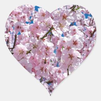 Japansk körsbärsröd blomma hjärtformat klistermärke
