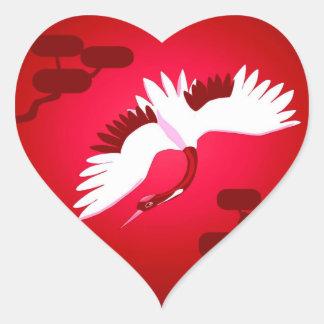 Japansk kran hjärtformat klistermärke