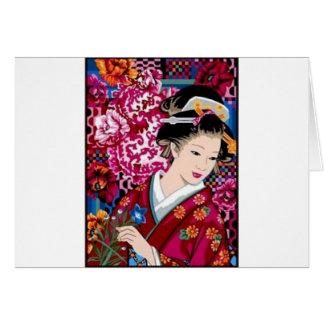 Japansk kvinna för vintage i Kimono Hälsningskort
