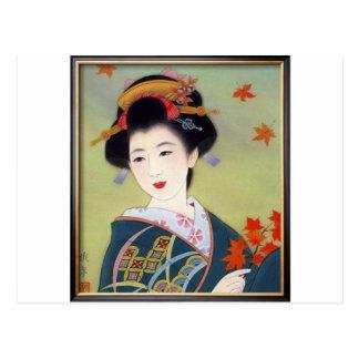 Japansk kvinna i blåttkimono vykort