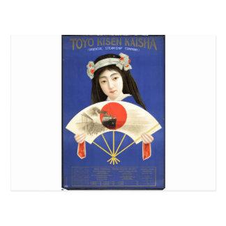 Japansk kvinna i blåttkimonoinnehav en fläkt vykort