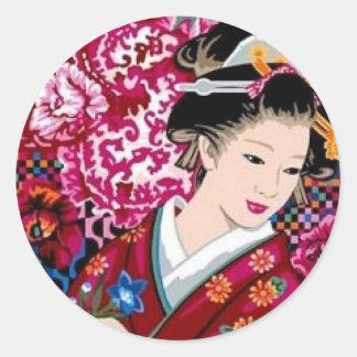Japansk kvinna i Kimono Runt Klistermärke